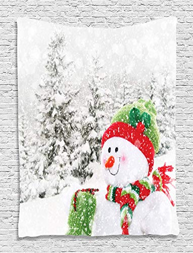 Snowman in Christmas Colors Snowy Forest Holiday Digital Printed Tapestry Wall Hanging, Wall Tapestry Living Room/Bedroom/Dorm Decor, 40 W X 60 L Inches, White Red