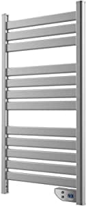 Cecotec Radiador Toallero Eléctrico Bajo Consumo Ready Warm 9050 Twin Towel Inox. Seca Toallas de 500 W, IP24 2 Modos, Temporizador, Pantalla LED, Diseño Moderno, Kit de instalación