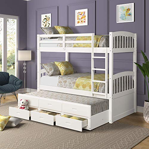 Solid Wood Bunk Kids Teens Adult, Twin Bed,with Ladder, Safety Rail,Trundle,and 3 Storage Drawers Can be Divided into 2, White (Drawers Bed With Bunk)