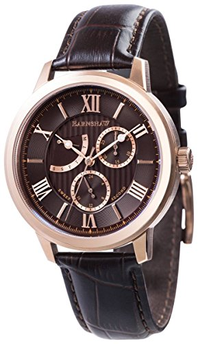 Thomas Earnshaw Mens The Cornwall Sweep Retrograde Watch - Brown/Rose Gold