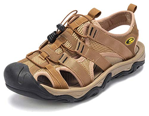 GUBARUN Men Sports Sandals Outdoor Athletic Hiking Leather Fisherman Beach Shoes Traveling (Closed Toe Fisherman Sandal)