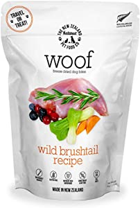 The New Zealand Natural Pet Food WOOF Wild Brushtail Freeze Dried Raw Dog Food, Topper, or Treat - High Protein, Natural, Limited Ingredient Recipe 1.76 oz, Brown (NZ-WFD050B)