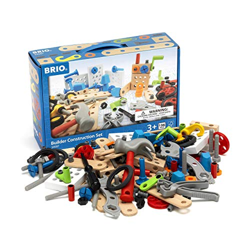 (BRIO Builder - 34587 Builder Construction Set | 135-Piece Construction Set for Kids Age 3 and Up)