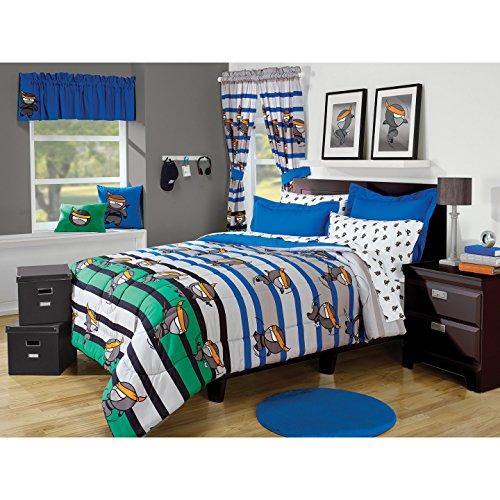 2 Piece Boys Blue Green Grey Black Ninja Theme Striped Comforter Twin Set, Fun Stylish All Over Training Ninjas Stripe Bedding, Kids Horizontal Stripes Karate Themed Pattern, Grey - Grey Blue Green