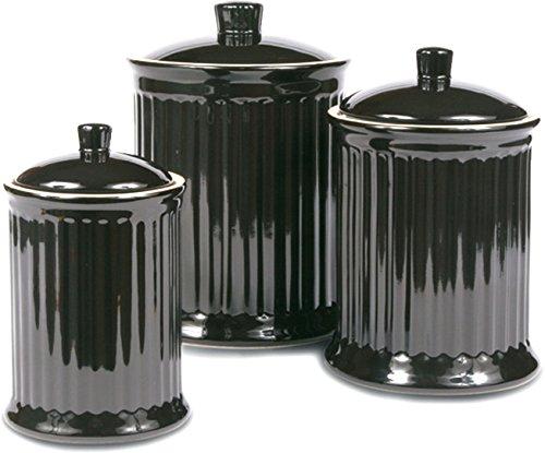 OmniWare Simsbury Black Stoneware Canister, Set of ()