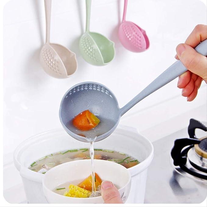 Creative 2 en 1 cuchara de mango largo para el hogar, colador de cocina, cuchara de plástico, cubiertos beige: Amazon.es: Hogar