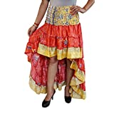 Mogul Interior Womens Bellydance Skirt Recycled Sari Free Ruffle Maxi Skirts