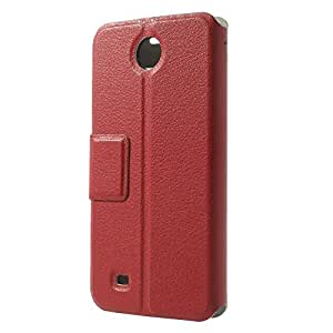JUJEO Hollow Double Window View Litchi Skin Leather Flip Case for HTC Desire 300 Zara Mini - Non-Retail Packaging - Red