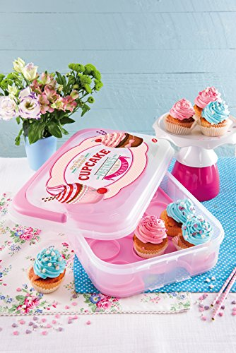 Pink Reversible Carrier - Snips Vintage Cupcake Holder (Holds 14 cupcakes), Pink