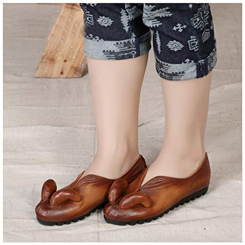 Para Mano Hechos Casuales Zapatos Vintage Trabajo Perezosos Mujer A Brown De Cuero Planos Haxxzw4