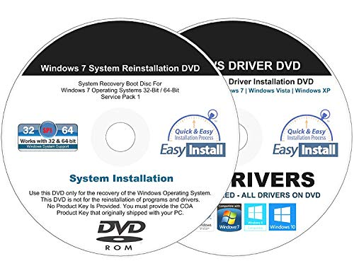Compatible Windows 7 (SP1) All-In-1 32 & 64 bit Reinstall Install DVD Disc Home Basic Premium Professional Ultimate - 2019 Universal Driver Install Disc - No Internet Needed - 2 Disc Installation Kit (Windows 7 Service Pack 2 64 Bit)