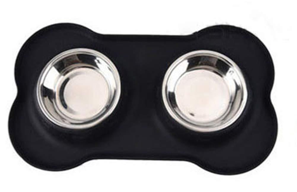 Black Pet Bowls Mat De Silicona Y Doble De Acero Inoxidable Perros Bowl Perro Shape Alimentador Cuencos para Perros Gatos Y Mascotas PequeñA