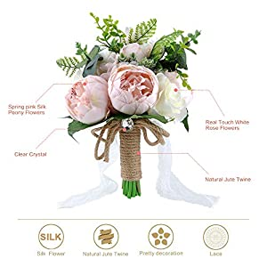YSUCAU Wedding Bridal Bouquet, 9.8'' Wedding Bride Bouquet, Wedding Holding Bouquet with Artificial Peony and Rose Fiowers, Natural Jute Twine, Crystal for Wedding Church Party and Home Decor 5