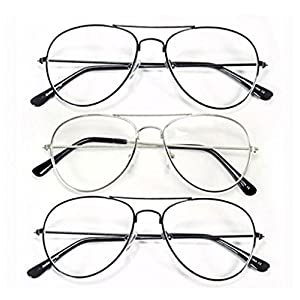 (#CHR40 3Pk) Aviator +3.00 One Stop Discount Shop - Men Women Unisex Metal Retro Classic Readers Reading Glasses Black Silver Frame Optical Optic Lens