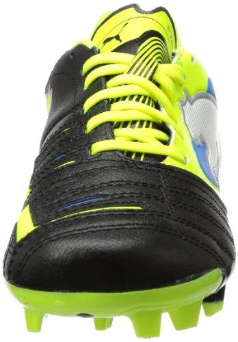 Puma PowerCat 3 FG Jr - Zapatos de fútbol de cuero infantil negro - Schwarz (black-fluo yellow-white-brilliant blue 04)