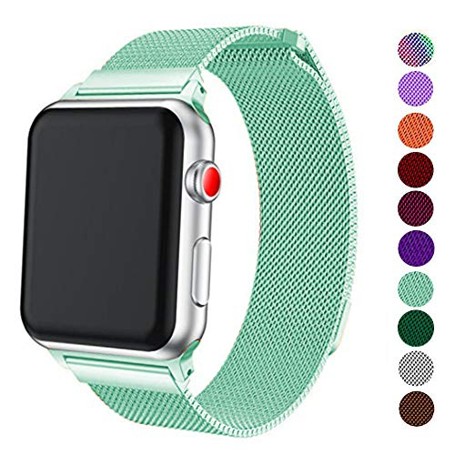 DELELE Compatible for Apple Watch Band 38mm 42mm 40mm 44mm, Milanese Loop Magnetic Metal Replacement Strap with Magnet Lock for Apple iWatch Series 4/3 / 2/1 Women Men (Mint Green, 38mm/40mm)