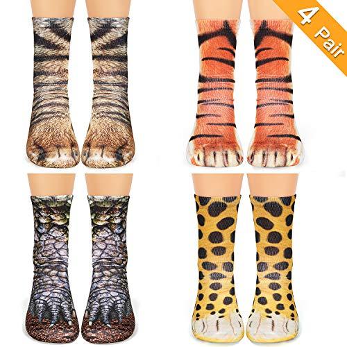Animal Print Paw Crew Socks 4 Pair Novelty Funny 3D Socks Dinosaur Tiger Leopard Cat Paw Socks for Women Men Boys Girls ()
