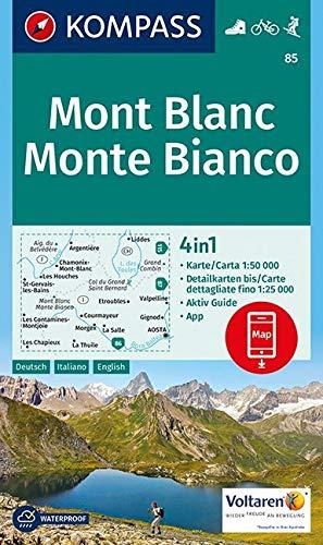 Mont Blanc, Monte Bianco: 4in1 Wanderkarte 1:50000 mit Aktiv Guide und Detailkarten inklusive Karte zur offline Verwendung in der KOMPASS-App. Fahrradfahren. Skitouren. (KOMPASS-Wanderkarten, Band 85)