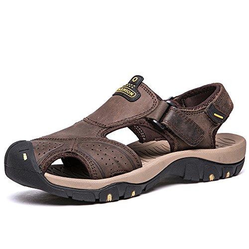 Herren-Sportsandalen aus Leder von Vilocy, mit geschlossenem Zeh, Trekking-Sandalen für draußen Dunkelbraun