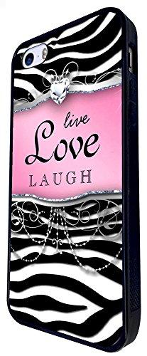 712 - Girly Diamond Live Love Laugh Design iphone SE - 2016 Coque Fashion Trend Case Coque Protection Cover plastique et métal - Noir