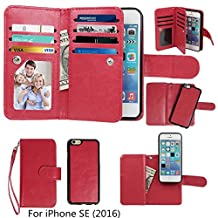 Case for iPhone SE / iPhone 5 5S Wallet, xhorizon TM SR Premium Leather Magnetic Detachable Folio Phone Wallet Case with Multiple Card Slots for iPhone SE (2016) / iPhone 5 5S -Red