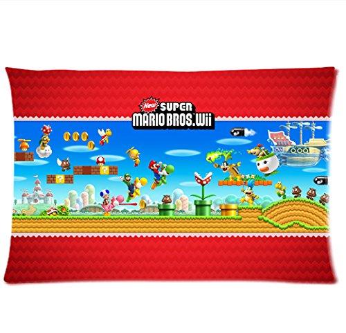 New Super Mario Bros Wii Mushroom Kingdom Pillowcase/Fundas ...