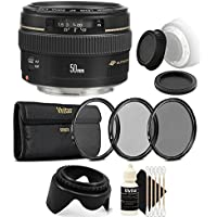 Canon EF 50mm f/1.4 USM Standard Lens for Canon SLR Cameras - Fixed Lens with Camera Bundle