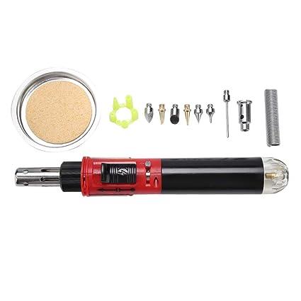 akozon Gas Soldador 12 en 1 Profesional lápiz tipo dual función de gas butano Soldador Set