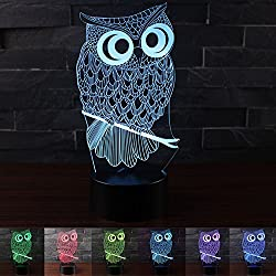 Erhard Owl 3D Night Light Table Desk LED Lamps 7 Colors Change Decor Atmosphere Illusion Lamp with USB Cable Smart Touch Button Control