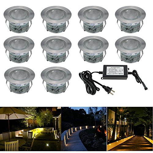 FVTLED Low Voltage LED Deck Lighting Kit Stainless Steel Waterproof Outdoor Landscape Garden Yard Patio Step Decoration Lamps LED In-ground Lights, Pack of 10(Warm (Low Voltage Led Lights)