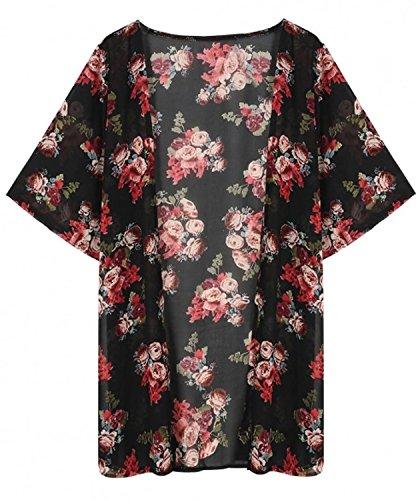 Estate Cardigan Lungo Fiore Bohemian Up Cover Donna Bikini Casual Mare Chic Nero Vintage Sciolto Chiffon Cute Copricostume Spiaggia Kimono Stampa WwU08AcAEp