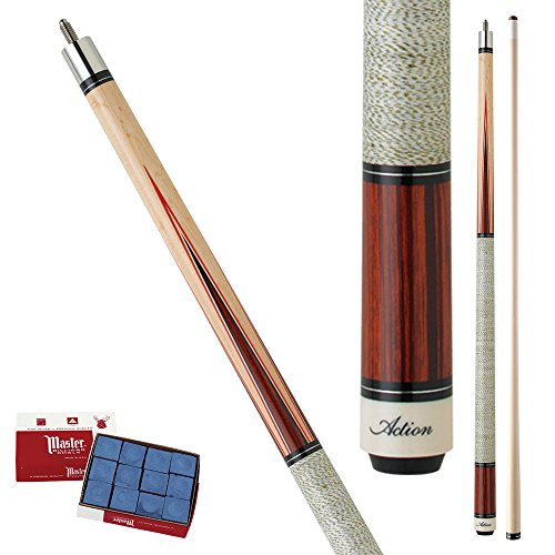 Action Inlay INL10 Birdseye Maple with cherry stain, maple and red spliced inlay points Pool Cue Stick with 12 pieces of Master Billiard Chalk (21)