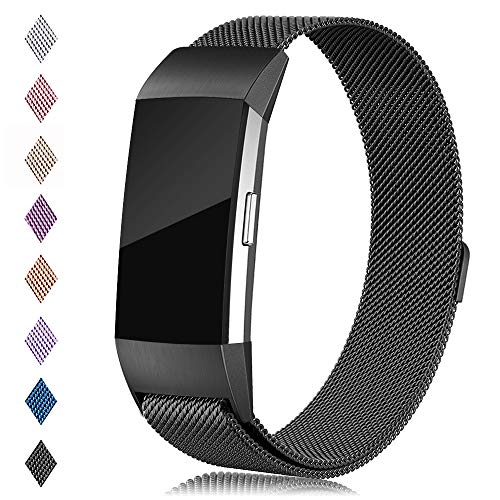 Find-MyWay Compatible with Fitbit Charge 2 Band,Charge 2 Accessories Stainless Steel Magnet Bracelet Women Men Wristbands Strap Rose Gold Silver Compatible for Charge 2 Fitness ()
