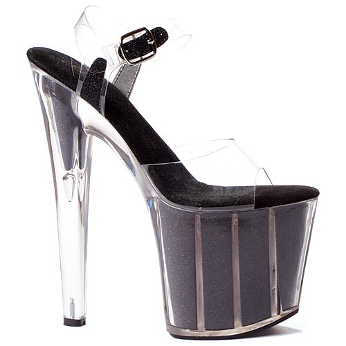 8 Platform Stiletto In Pointed Black;8 With Size Inch Glitter Shoe Sandal Women'S vrEv1nqz