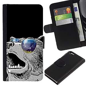 LECELL--Cuero de la tarjeta la carpeta del tirón Smartphone Slots Protección Holder For Apple Iphone 6 -- Enfriar gafas de sol Oso --