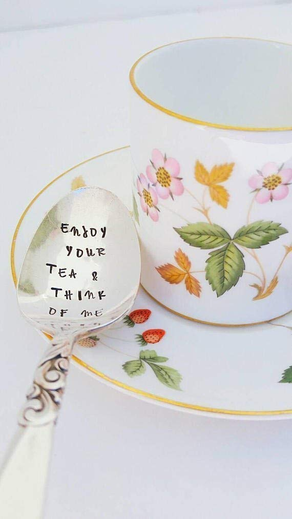 Enjoy your Tea & Think of Me - Hand Stamped Spoon - Gift for Grandmother - Engraved Teaspoon