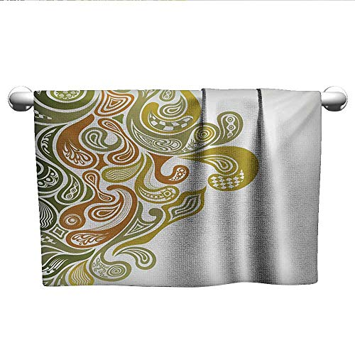 - alisoso Earth Tones,Pool Towels Classical Scroll Pattern with a Modern Approach Swirled Leaf Figures Washcloths Khaki Green Cinnamon W 20