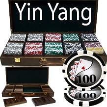 500 Ct Yin Yang 13.5 Gram Poker Chip Set w/ Walnut Wooden Case