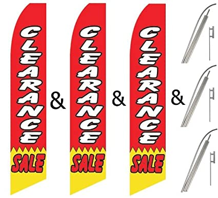 Pack Swooper Flags /& Pole Kits Yellow /& Red with Image RED TAG SALE Three 3