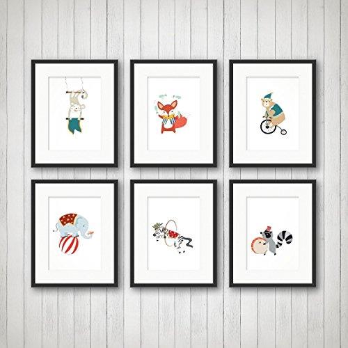 Circus Nursery Art, Kids Room Decor, Fun Animal Art - Set of 6 Prints