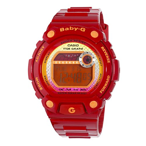 Casio Women's BLX100-4 Baby-G Multi-Function Digital Red Resin Sport Watch (Baby G Shock Watches Women Red)