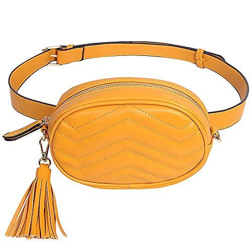8ae366e3 Badiya Snakeskin Fanny Pack for Women Tassel Waist Bag Leather Belt ...