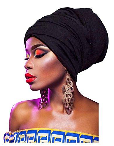 - L'vow Women' Soft Stretch Headband Long Head Wrap Scarf Turban Tie (Black)