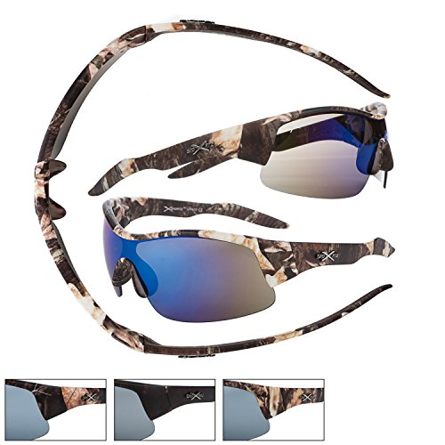 New Light Brown Camouflage Half-rim, Wrap-around Sport Sunglasses! Blue Revo Lenses. UV400 Protection. Adult Men. Temple 5.67 inch. - Rim Camo