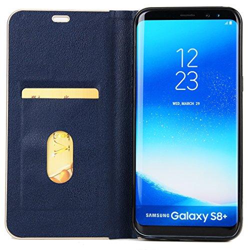 Funda Galaxy S8 plus,SainCat Funda de cuero sintético tipo billetera de Suave PU Carcasa Con Tapa y Cartera,Fuerte Cierre Magnético,Ranuras para Tarjetas y Billetera Funda de Flip Ranuras Tarjeta Slot Azul