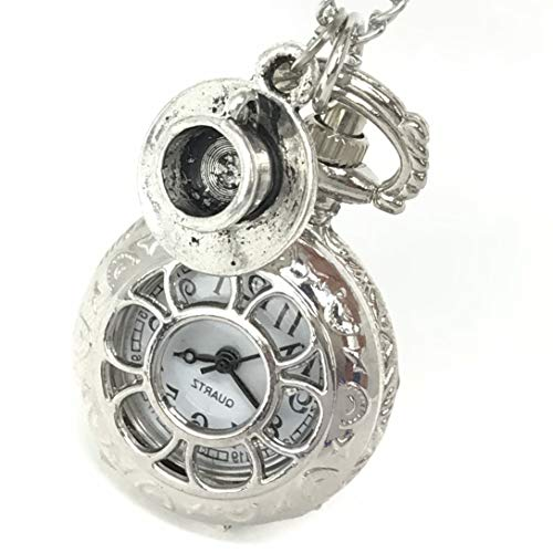 Alice in Wonderland Tea Party Steampunk pocket watch necklace costume accessory,party supplies Silver -