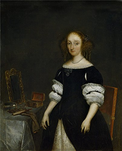 Oil painting 'Borch II Gerard ter Petronella de Waert 1670 ' printing on polyster Canvas , 12 x 15 inch / 30 x 38 cm ,the best Game Room gallery art and Home decoration and Gifts is this Amazing Art Decorative Canvas Prints