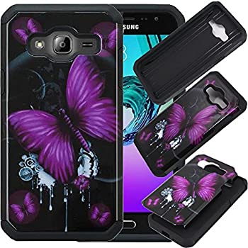 Samsung Galaxy Sky Case, Samsung Galaxy Sol Case, SOGA [Astro Guard Series] Hybrid Armor Cover Protector Case for Samsung Galaxy Sky / Galaxy Sol / Galaxy J3 - Purple Butterfly / Black