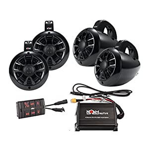 NOAM NUTV4 QUAD - 4 Channels Marine Bluetooth ATV/Golf Cart/UTV Speakers Stereo System
