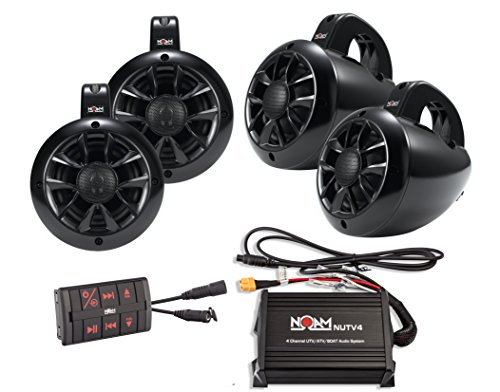 NOAM NUTV4 Quad - 4 Channels Marine Bluetooth ATV/Golf Cart/UTV Speakers Stereo System (800 Kit Turbo)